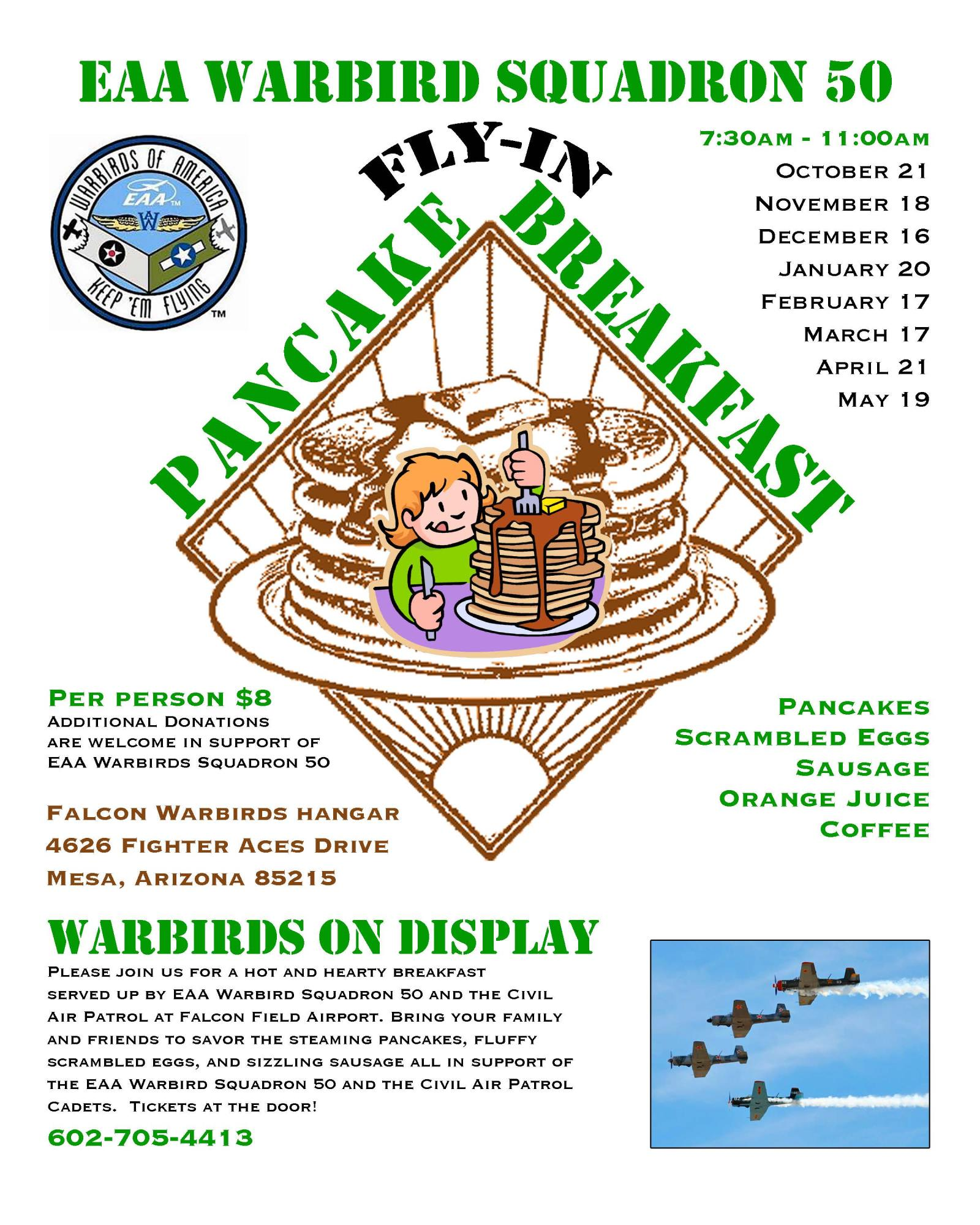 Falcon Warbirds' Pancake Breakfast Flyer