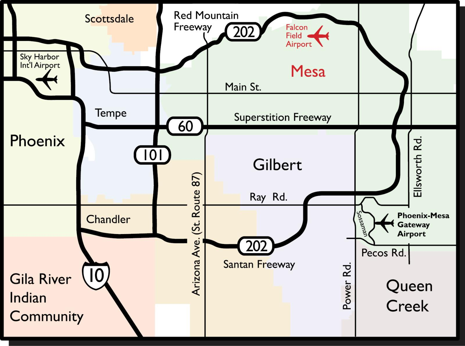 Maps & Directions | Falcon Field Airport Directions From And To With Map on