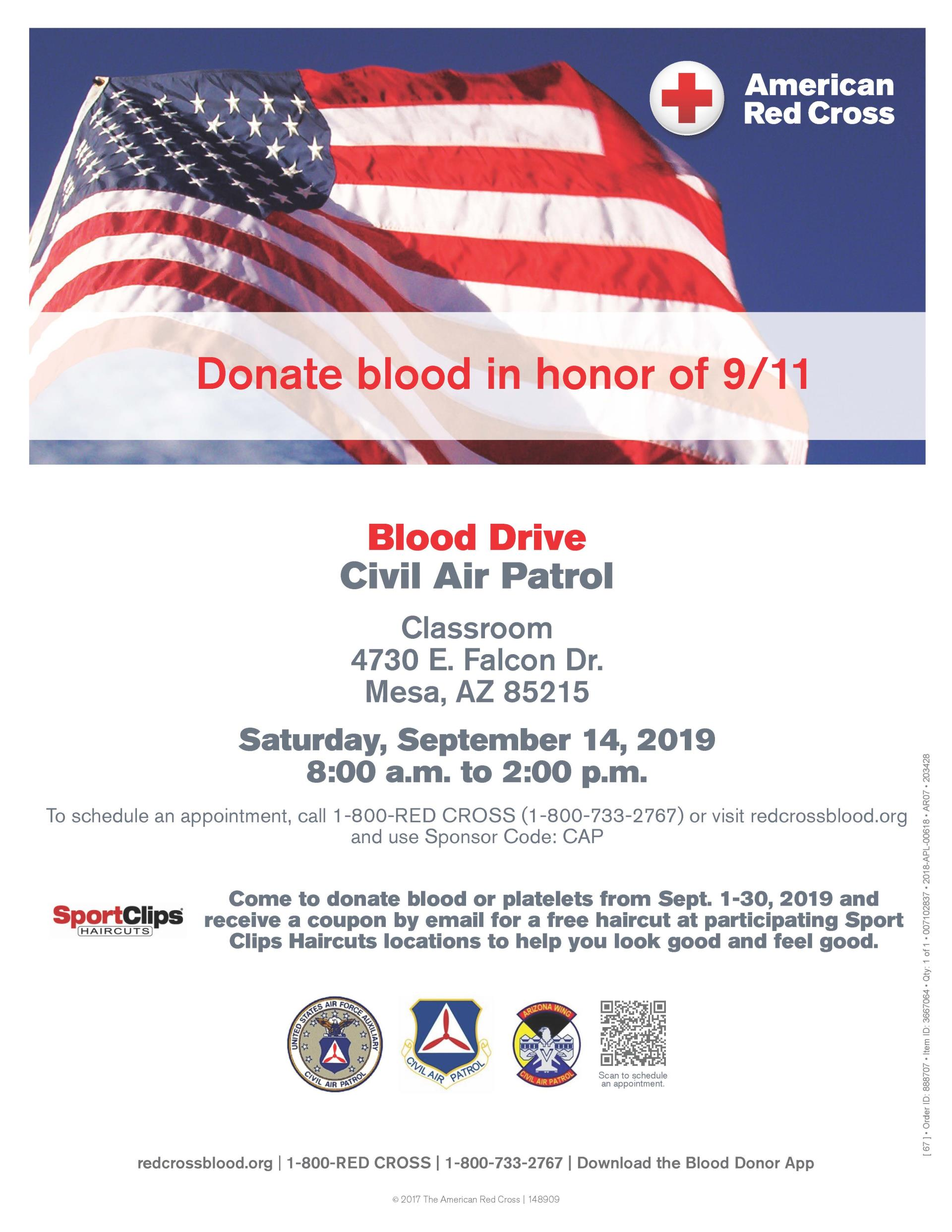 CAP Blood Drive Flyer_Sept. 14, 2019